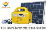 sistema de iluminación casero solar 10W con FM y el USB