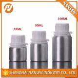 frasco de petróleo 1000ml essencial de alumínio de prata com o tampão evidente da calcadeira branca