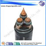 Cabo médio da energia eléctrica da armadura da bainha do PVC da isolação da tensão XLPE