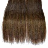 Волосы 100% Brown выдвижений человеческих волос Remy темные шелковистые прямые