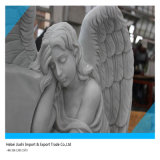 Funeral를 위한 백색 Marble Weeping Angel Memorial Statue