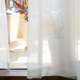 거실 자카드 직물 보일 신선한 기하학적인 투명한 Tulle 커튼을%s 현대 커튼