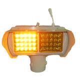 淡い琥珀色の太陽標識燈に警告するトラフィック