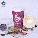 Ondulation double paroi simple tasse de café jetables en papier pour boisson chaude