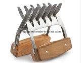 As garras do triturador de carne de aço inoxidável com pega de madeira
