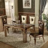 Tabela de jantar dourada superior do mármore da mobília do quarto Home