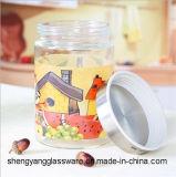 Contenitore di vetro caldo del serbatoio di stampa di vendita con l'articolo da cucina della bottiglia di vetro del coperchio del metallo