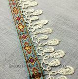 Indumento multicolore del cotone del distintivo della tessile del merletto del tessuto del poliestere della frangia di modo