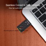Adaptador audio sadio da canaleta 3D do cartão 7.1 do USB do External com auriculares Mic de 3.5mm para o caderno do Desktop do PC