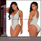 Manches longues Cravate en dentelle Top Neck Luxe Bodysuit Teddy (T32032-1)