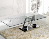 Mobília de casa Mesa de café quadrada superior de vidro