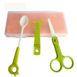 Food di ceramica Scissors con Spoon Set per Baby Feeding