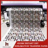 45/60/90GSMは乾燥した昇華転写紙ジャンボRoll/300m/500m/1000m/2000m/5000m高速印刷の昇華織物のための絶食する