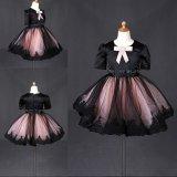 最も新しく黒いFlower弓王女の女の子のイブニング・ドレスWt010