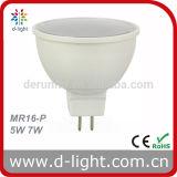 세륨 RoHS Gu5.3 Ra>80 PF>0.5 SMD2835 120 Degree Plastic Aluminum 400lm MR16 5W LED Spotlight