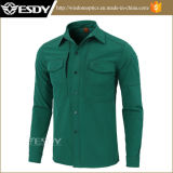 Softshellの深緑色の戦術的な防風の防水ワイシャツの暖かい羊毛の衣類