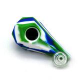 Tipo de diamantes de fumar el tazón de vidrio con tubo de silicona para el tabaco