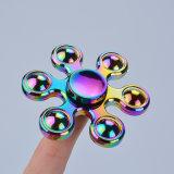 Colorer compas gyroscopique de jouet de personne remuante de fileur de doigt de main en métal d'arc-en-ciel le tri