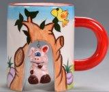 taza de café de cerámica 210-300ml de la dimensión de una variable animal de la historieta 3D