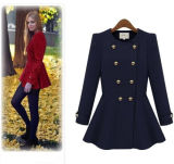 Invierno señoras doble breasted lana foso trench coat