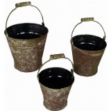 Moss Brown Rond Etain Metal Outdoor Garden Flower Pot Bucket