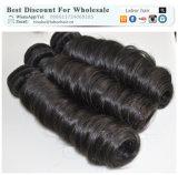 Les cheveux humains brésiliens normaux de travail non transformés de l'enroulement 100% de ressort de cheveu de Vierge de la prolonge 105g (+/-2g) /Bundle de cheveu tissent la pente 9A