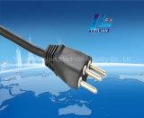 tipo de cobre cabo de Brasil do plugue do cabo de extensão 3-Pin de H05VV-F equipado