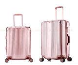A mala de viagem rodada anticolisão do trole da forma feita sob encomenda do logotipo encaixota a bagagem