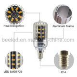 La luz E14 5W del maíz del LED calienta la lámpara de plata blanca del bulbo de la carrocería LED del color