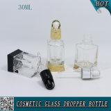 1oz 30ml Botella de vidrio transparente cuadrada con cuentagotas