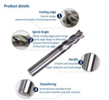 4 moinhos de extremidade de carboneto sólidos Naco-Blue de flauta para cortar metal