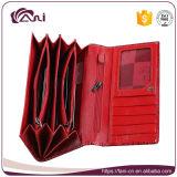 Бумажник женщин кожаный цветка PU красного цвета выбитый перекрестный