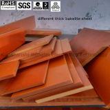 Material de papel fenólico de Pertinax de la hoja negra/naranja-roja de la baquelita en existencias