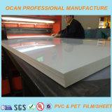 folha rígida do PVC do plástico branco lustroso de 1mm para o vácuo que dá forma ao painel de parede 3D