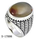 Jóias de prata 925 homens revestidos de ródio anéis com pedras naturais