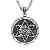 Vintage Round Necklace Pendentif Titanium Steel Jewelry Hommes & Femmes