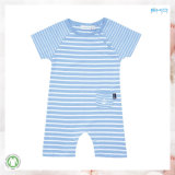 소매 없는 아기는 유아 장난꾸러기를 인쇄하는 줄무늬를 입는다
