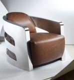 스테인리스 팔걸이 의자, 호텔 의자, 브라운 진짜 가죽 단 하나 의자, 각 의자 Yh-212