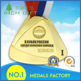 Basketball Competition Medal with trifishes Shape and golden Color