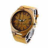 Relógios de madeira de couro da madeira do encanto do OEM dos relógios de pulso com seu logotipo