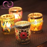 Suporte de vidro Votive de vidro de Tealight do suporte de vela do mosaico para a decoração Home