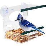 Alimentador de pássaro de acrílico claro de moda com janela