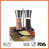Ws-Pgs007 Conjunto de moedor de sal e pimenta Acabamento de aço inoxidável Moinho de sal e pimenta