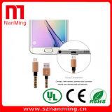 Mikro-USB-aufladenkabel-Gewebe geflochtenes gesponnenes Daten-Synchronisierungs-Netzkabel für Samsung