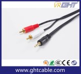 1.5M 3,5mm-2fichas RCA macho para macho do cabo áudio Cabo divisor