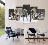 HD het afgedrukte Dierlijke Schilderen van de Sneeuw van het Pak van de Wolf op Canvas mc-018 van het Beeld van de Affiche van het Af:drukken van de Decoratie van de Zaal van het Canvas