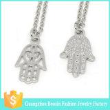 최신 판매 종교적인 은에 의하여 도금되는 모조 다이아몬드 Hamsa 펀던트 보석 목걸이