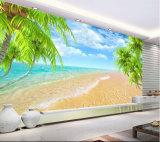 Murali tropicali su ordinazione della parete del documento di parete di paesaggio della spiaggia di prezzi di fabbrica