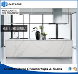 Partie supérieure du comptoir Polished de quartz pour des matériaux de construction de cuisine avec la qualité (Calacatta)