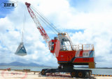 Guindaste móvel portuário com garra para manuseio de barcaças